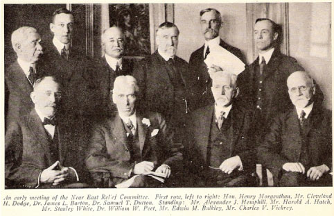 Portrait of the Committee Board of Trustees, 1916, upon Ambassador Morgenthau's return from Constantinople