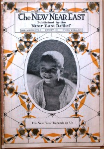 Cover of the New Near East magazine, Jan. 1921, featuring an oval portrait of an orphan against an orange, black, and white decorative background.