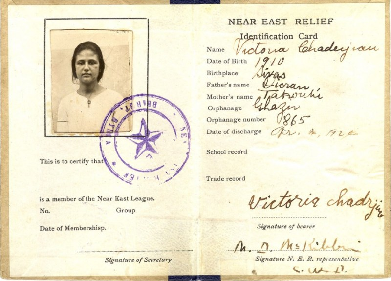 Orphanage identification card from Ghazir Orphanage. This card was donated to the Near East Foundation archives by its owner, Victoria Chadrijian Palian. It is the only one of its kind in the Near East Foundation archives.