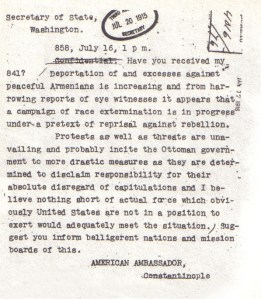 Ambassador Morgenthau's July 16, 1915 telegram to the U.S. Department of State referencing deportations of Armenians.