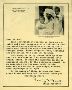 Thank you letter signed by New York State office director Irving Gumb featuring a picture of a nurse holding a smiling baby.