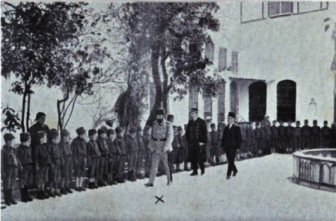 Djemal Pasha observing Turkified Armenian boys in Damascus, 1917.