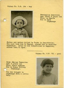 Page from a rare orphan booklet probably used for sponsorship. This page features Efsthasios Demetriou and Mariam Tamourian.