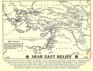 Map showing evacuations of orphans and relief workers from Ottoman Turkey in the wake of the Smyrna disaster and the advancement of the Kemalist army.