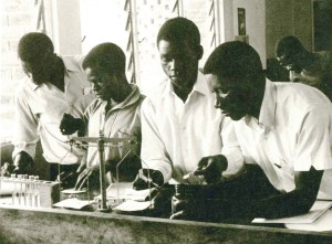 Students working in a Near East Foundation agricultural lab at Colby College, Malawi