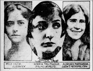 The Brooklyn Eagle published many advertisements for <em>Ravished Armenia</em>. In this advertisement, Aurora Mardiganian is featured alongside prominent silent film stars of the day, an indication of her prominence at the time.