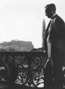 Near East Relief worker H.C. Jaquith standing on a balcony overlooking the city of Athens. The ruins of the Acropolis are visible in the distance. H.C. Jaquith was active in Near East Relief for many years. He was decorated by the Greek and Turkish governments for his role in resettling refugees. Jaquith was also instrumental in orchestrating the population exchange between the two countries.