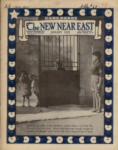 In this poignant New Near East cover, a boy in orphanage attire looks at children waiting for admission to the orphanage. Covers like this served as a reminder that Near East Relief's work was ongoing, even ten years after the 1915 massacres.