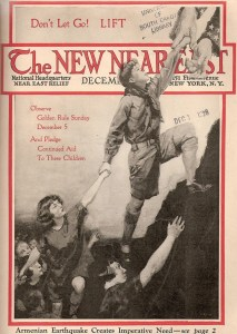 New Near East magazine cover featuring a drawing of children climbing a steep incline. The boy wears a Scout Uniform, emphasizing his similarity to American boys. The pair of oversized hands in the upper right corner wear star-spangled sleeves reminiscent of those worn by Uncle Sam. This image was also used on Near East Relief's letterhead.