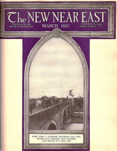 New Near East magazine cover featuring a view of a bridge through a pointed Gothic window. The magazine covers often recalled religious themes as a reminder of the inextricable link between Christianity and charity.