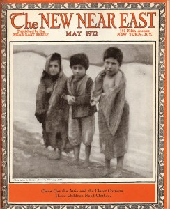 The New Near East magazine often used photographs of children -- either waiting for entry to an orphanage, or transformed by orphanage life -- to appeal to the readers' parental instincts. This photograph of three children in rags was taken in Erivan (now Yerevan), Armenia in February 1922.