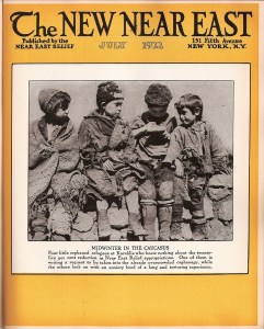 A New Near East magazine cover showing four boys in rags on a midwinter day in the Caucasus. Images like this reminded readers that even in the warmth of July, winter was never far away for the orphans of Near East Relief.