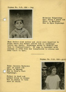 Page from a rare orphan booklet probably used for sponsorship. This page features Melanian Vahgarshag and Gulania Kardjian [sic]. You can read more about Gulania and the Karjian family in our Dispatch.