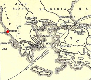 Cropped Evacuation Map, Corfu indicated.