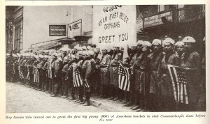 Orphans greet American tourists arriving in Constantinople for the first time since before World War I.