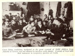 Boys attending class in a temporary classroom in Corfu, Greece. This photograph appeared in the October 1923 issue of the New Near East magazine.
