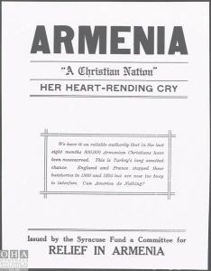 One of the posters issued by The Syracuse Fund, a chapter of American Committee for Armenian and Syrian Relief.