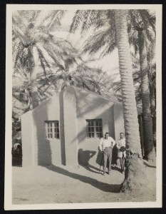 Two men standing outside a Protestant church in the Assyrian refugee camp in Baghdad. There were four other churches.