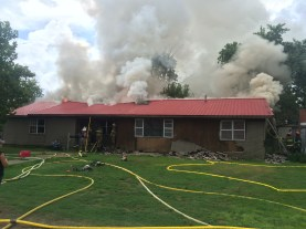 The home will likely be a total loss, based on visual evidence of the exterior. Submitted anonymously.
