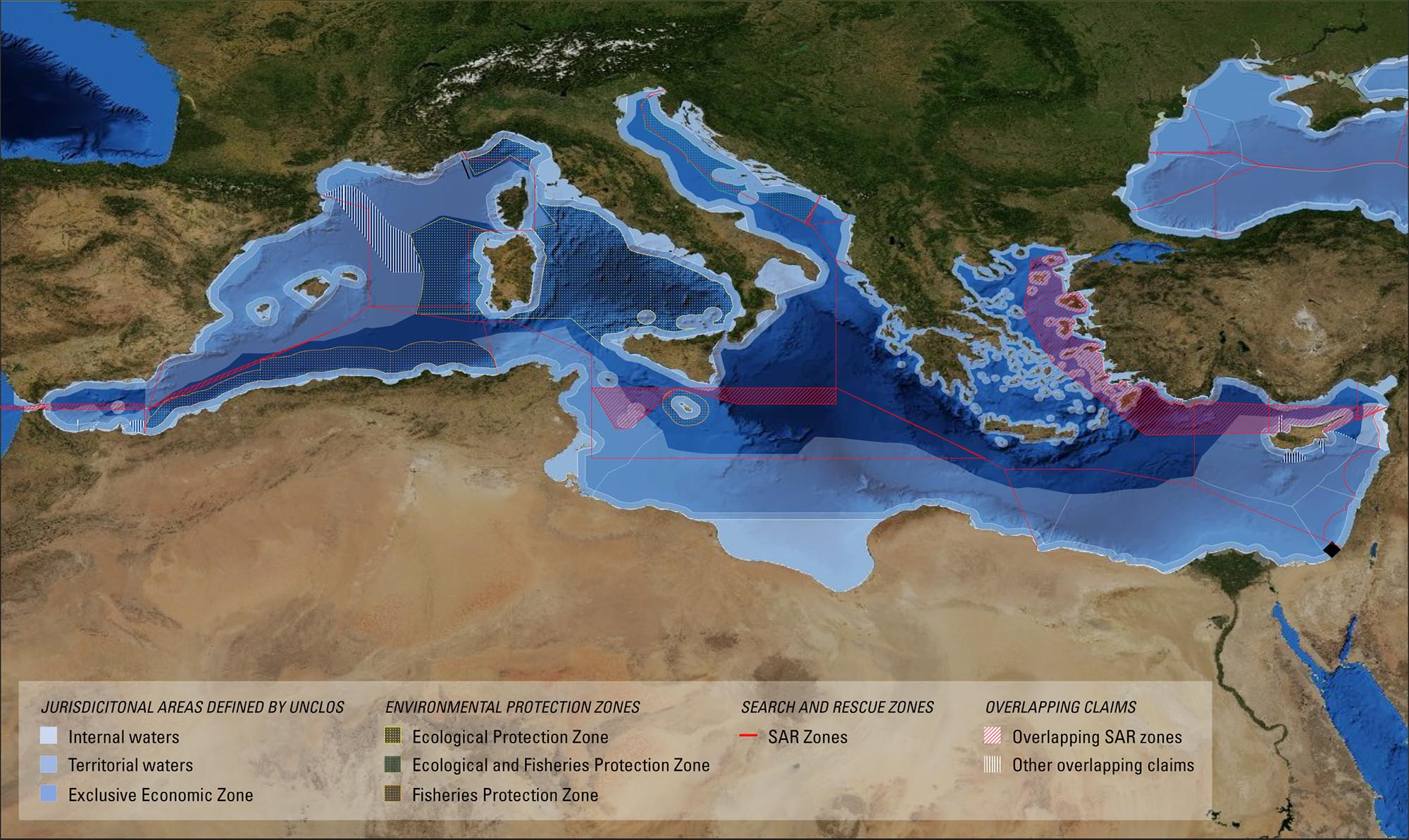 Maritime jurisdictions in the Mediterranean. (Forensic Oceanography)