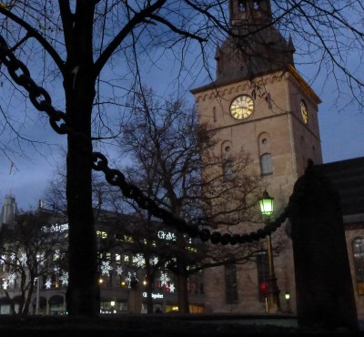 Oslo Domkirke in the evening
