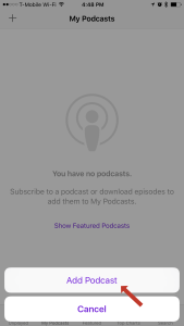 """Step Two: Click the """"Add Podcast"""" button"""