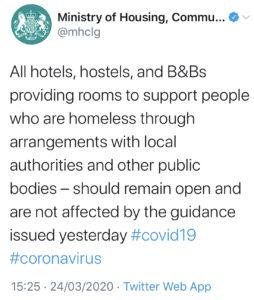 MHCLG on hotels