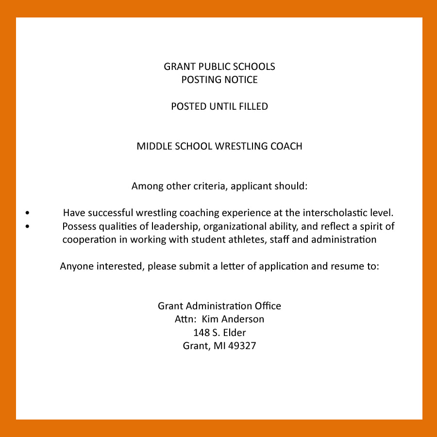 Wrestling Resume Grant Wrestling Coach Posting Near North Now