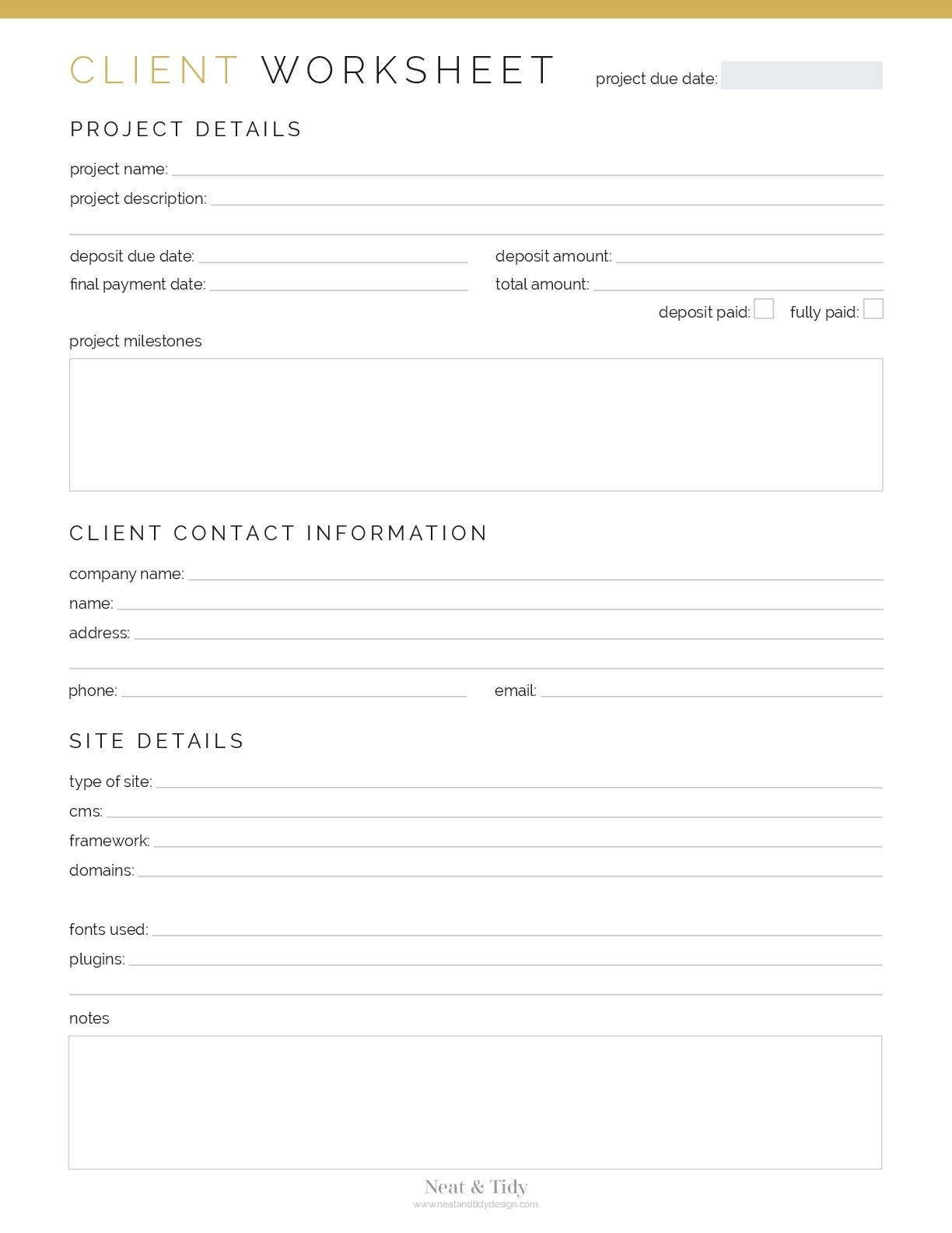 Client Worksheet Web Design