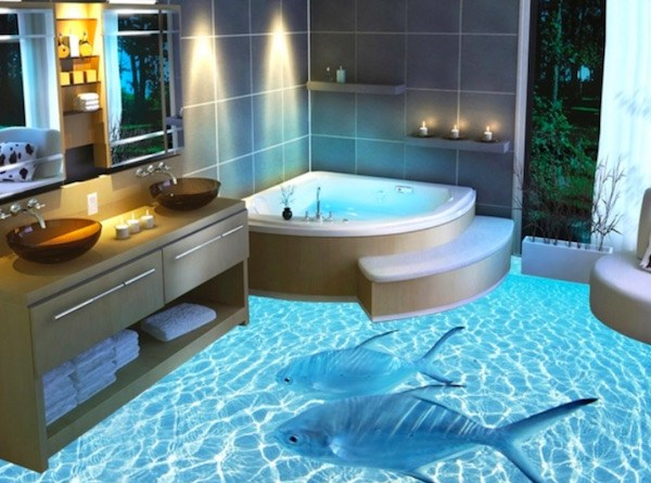 Glass Bathroom Floor Artwork