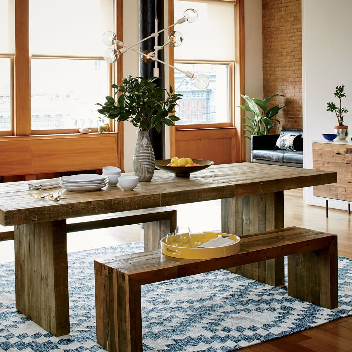 Rustic Wood Dining Table Set