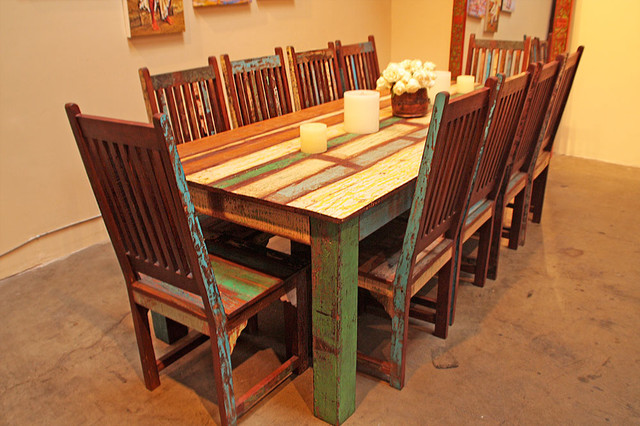 Reclaimed Wood Dining Table With Chairs
