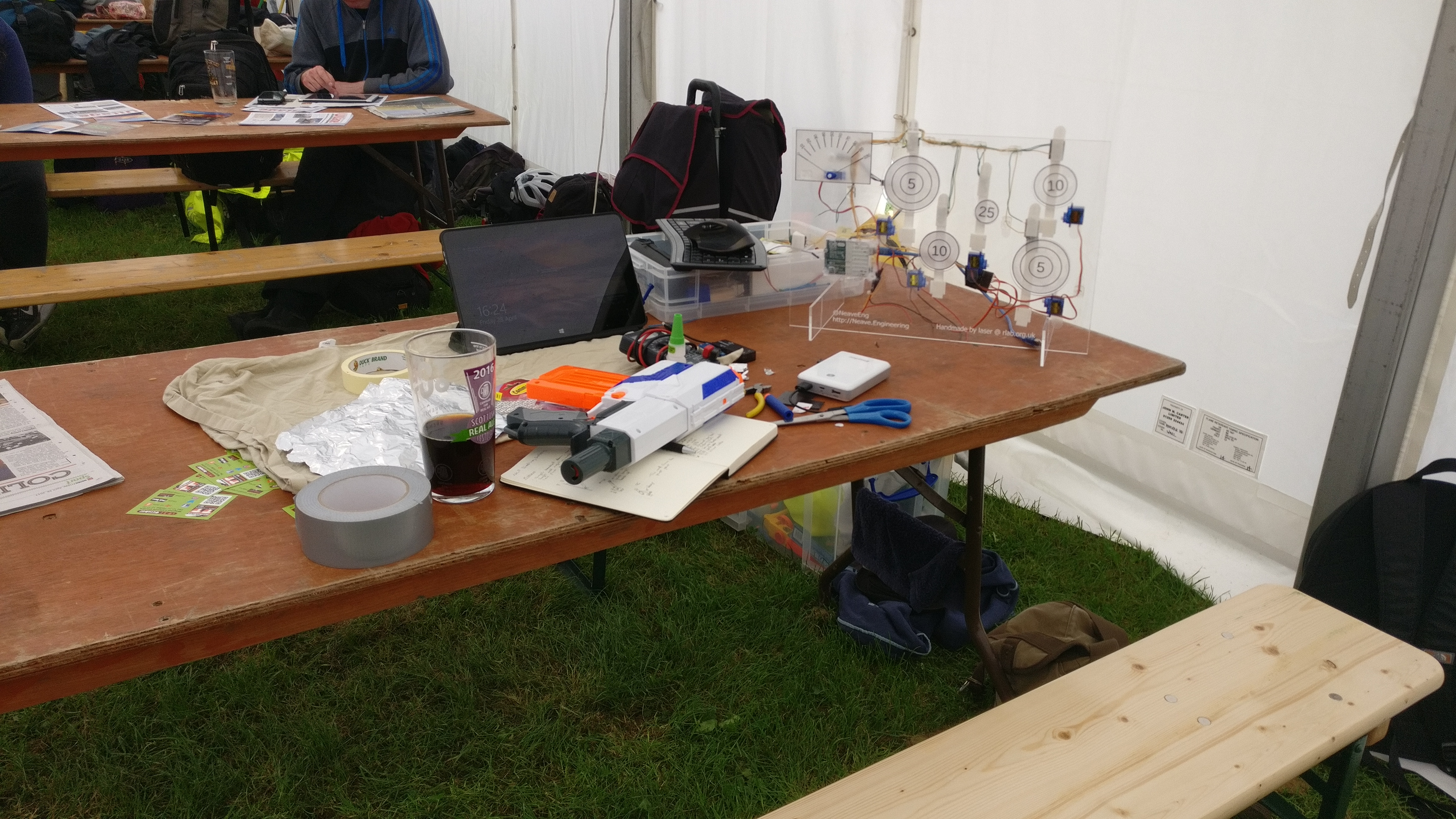 My workstation in the staff tent at the Beer Festival