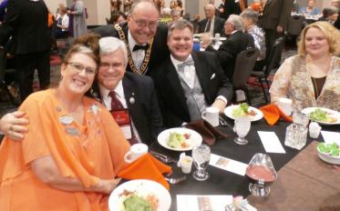 "MW Rick Myers (3rd from left) with Br. ""Fritz"" McMullin and his wife Deb and Br. Matt Vandergriff and his wife Kristi."