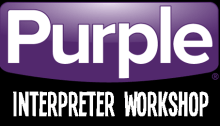 Purple Logo with Interpreter Workshop underneath