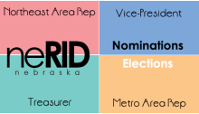 Four pastel blocks make up the background: a red, a green, a blue and an orange. The neRID logo is on the left. The word Northeast Area Rep is in the red box; the words Vice-President are in the blue box; the word Treasurer is in the green box; the words Metro Area Rep are in the orange box. Also in the blue box is the word Nominations. All these words are in black text. Also in the orange box, in white letters, is the word Elections.