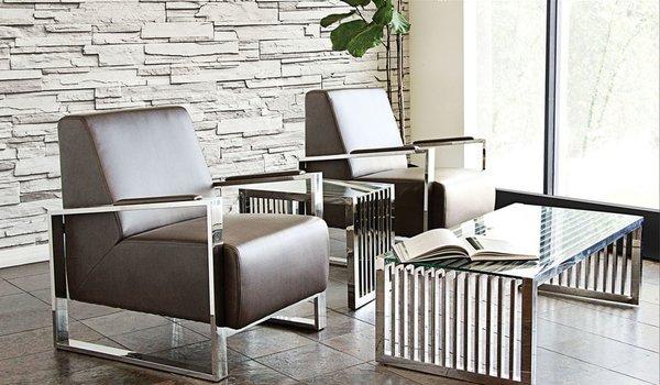 steel frame sofa bed lipat murah century accent chair w stainless by diamond elegant furnishings johns creek