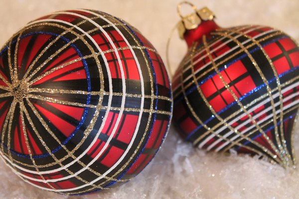 Red Plaid Glass Christmas Ornament Www