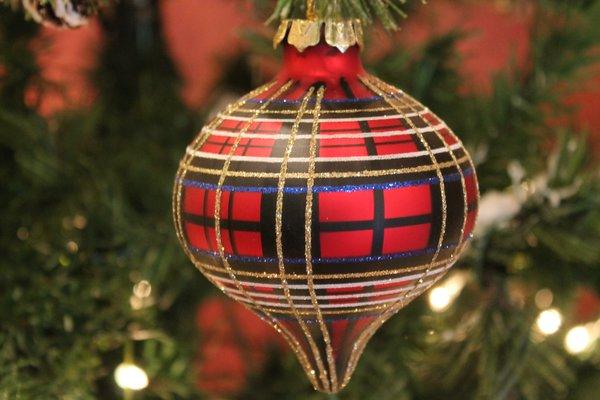 Red Plaid Glass Christmas Ornament Www