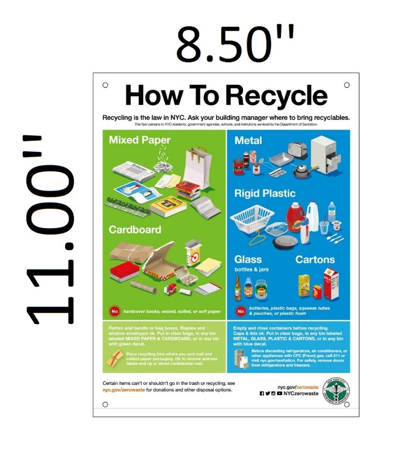 DSNY SIGN How To Recycle Sign Aluminium 11X85  HPD