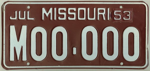 2016 Missouri Motorcycle License Plate