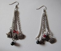Extra Long Pirate Charms Dangle Earrings