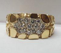 Men's 14 Karat Yellow Gold Diamond Nugget Ring 1232 | www ...