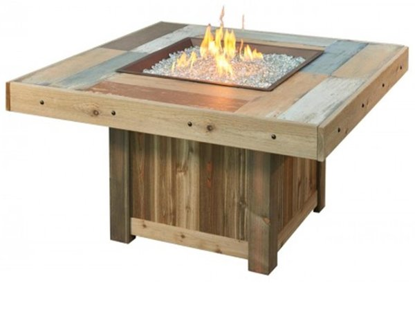 Outdoor Greatroom Vintage 48 25 Square Faux Wood Fire Table Vintage Fire Pit Table - Faux Wood - Outdoor Greatroom
