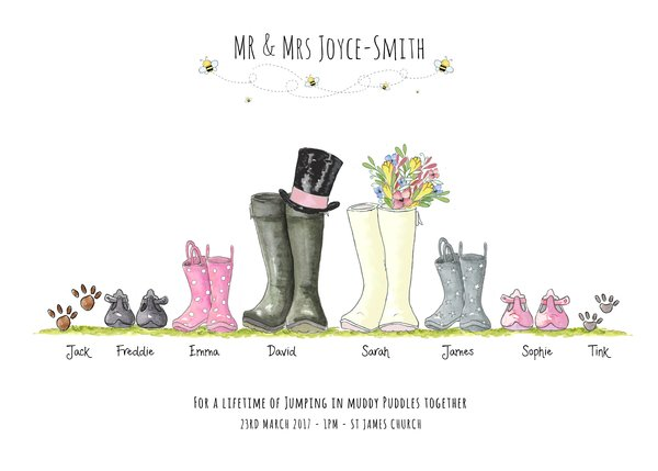 Personalised Wedding Welly Boot Family Print Wellies