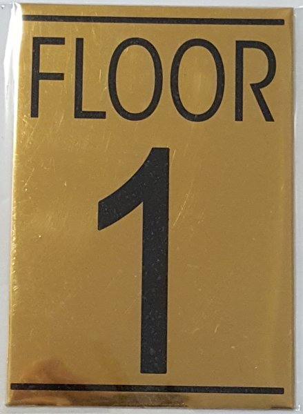 HPD FLOOR NUMBER ONE 1 SIGN ALUMINUM SIGN IDEAL FOR USE