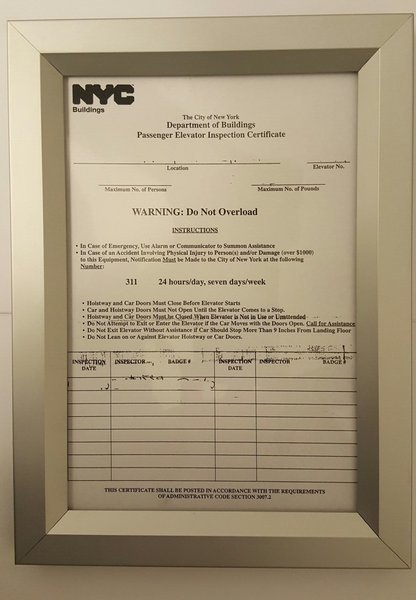DOB elevator frame  YOUR OFFICIAL STORE FOR NYC DOB SIGNAGE