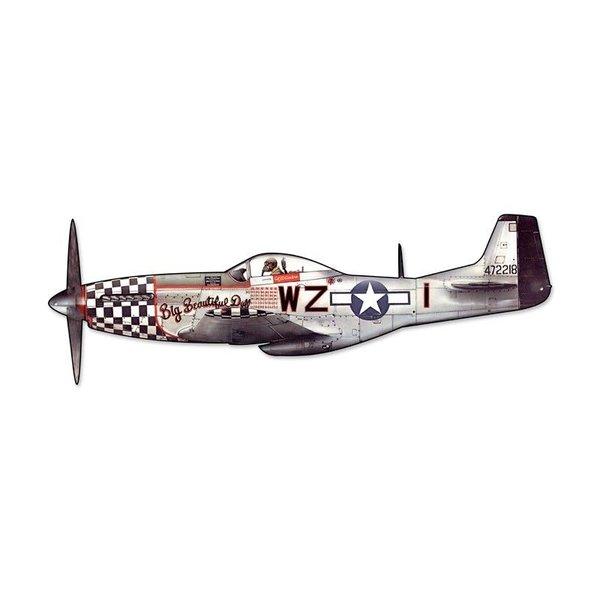 North American Aviation P-51 Mustang Cutout Metal Sign SIG