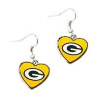 Green Bay Packers Yellow Hearts Dangle Earrings NFL ...