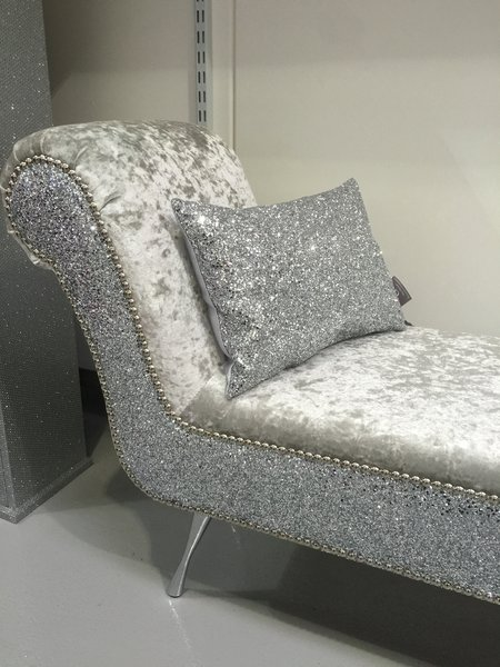 crushed velvet grey sofa bed difference between couch divan stunning double ended chaise lounge / bedroom seat | the ...